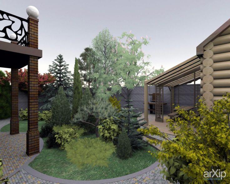 ландшафтный дизайн участка -01: ландшафтный дизайн, современный стиль, приусадебный участок, владение, дачный участок, 6 соток и менее #landscapedesign #modernstyle #farmland #possession #dacha #6acresandless arXip.com