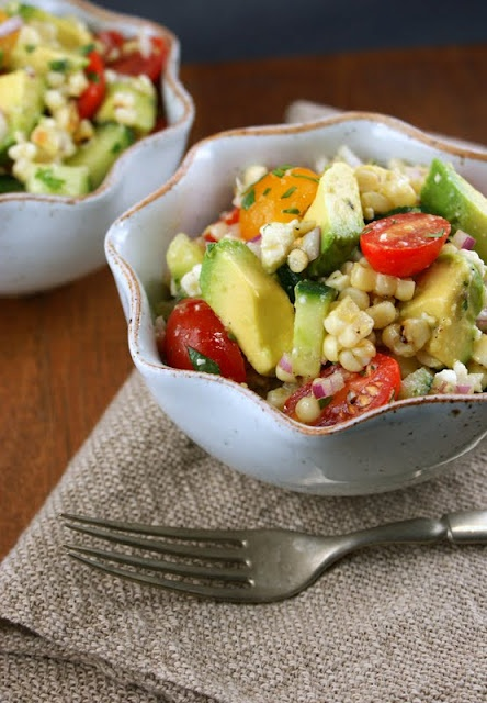Summer foodAvocado Salads, Fun Recipe, Grilled Corn Salad, Olive Oils, Sherri Vinegar, Tomato Salad, Summer Salads, Tomatoes, Cilantro Vinaigrette