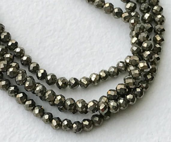 Pyrite Beads Natural Pyrite Faceted Rondelle by gemsforjewels