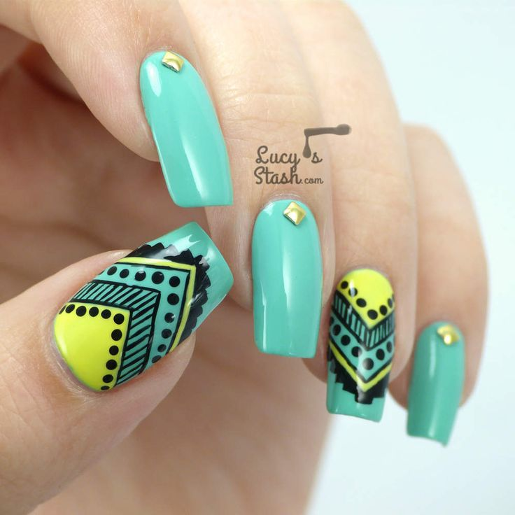 Aztec Tribal Nail Art feat. Graffiti Nails: Mellow, Pistachio and Jet.
