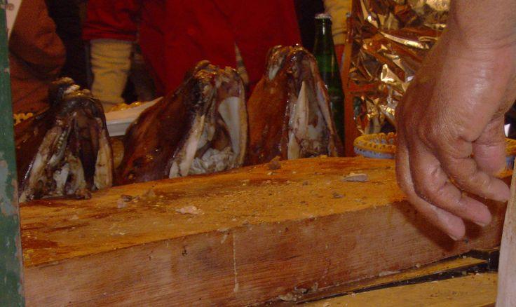 Roasted lamb heads on display in Djemaa El-Fna, Marrakech