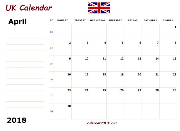 April 2018 England Holidays Calendar