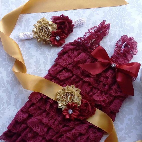Lace Romper Set -Burgundy Romper - Baby Lace Romper - Smash Cake Outfit - FSU Birthday Outfit - Seminoles Lace Romper Set - Garnet and Gold