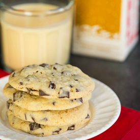 A quick and easy recipe for Dark Chocolate Chunk Eggnog Cookies - perfect for the holidays and cookie exchanges.