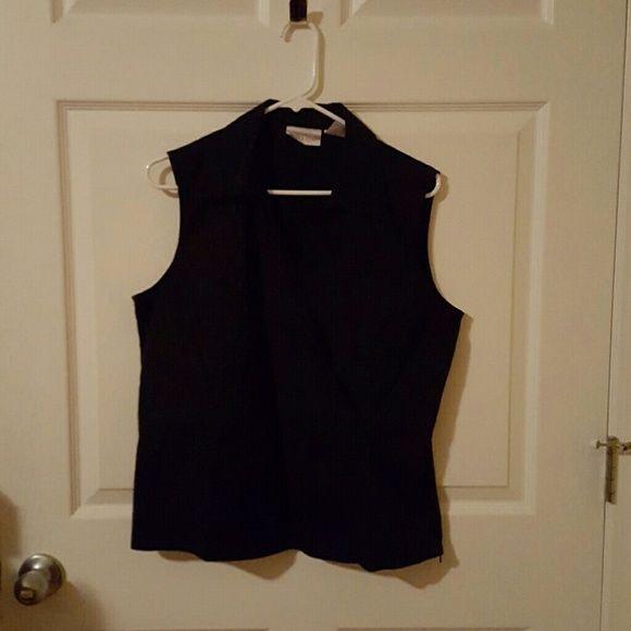 V neck wrap top Black v neck wrap top. Like new Worthington Tops Blouses
