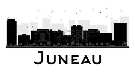Horizonte de la ciudad de Juneau negro y blanco de la silueta. Ilustración del vector. concepto de plano simple para la presentación turismo, bandera, cartel o página web. el concepto de viaje de negocios. Paisaje urbano con famosos