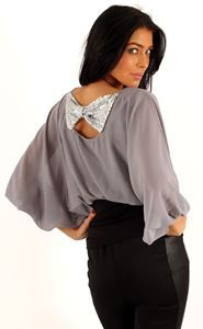Grey chiffon top with Sequin Bow - perfect for the party season!! £19.95