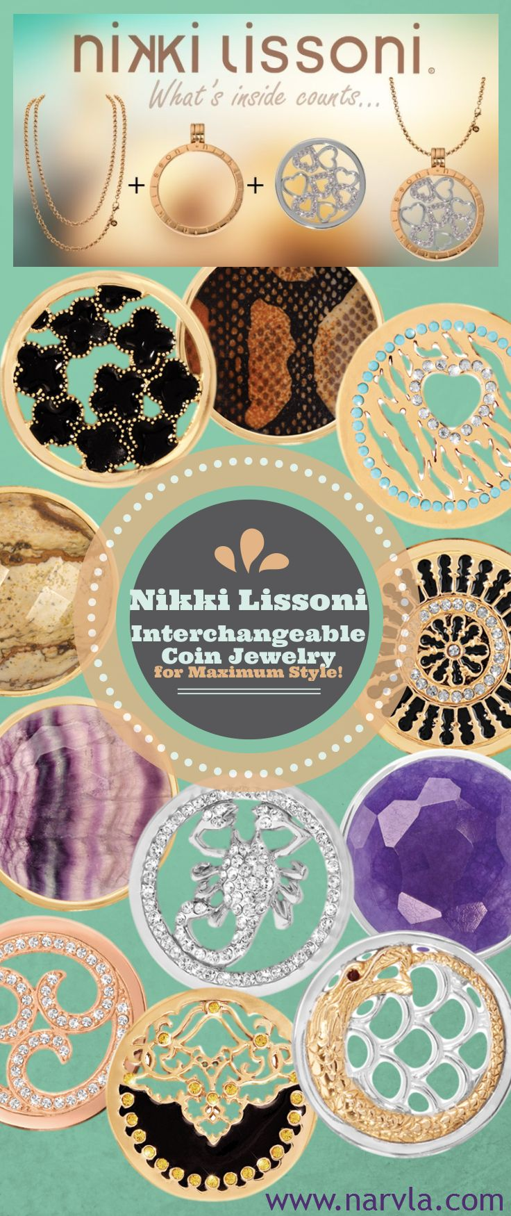 You'll find an ever-growing selection of Nikki Lissoni interchangeable coin jewelry on NarVla. Follow our Nikki Lissoni Pinterest board or join our newsletter subscribers to keep current on all we have to offer! #NikkiLissoni #jewelry #coinjewelry