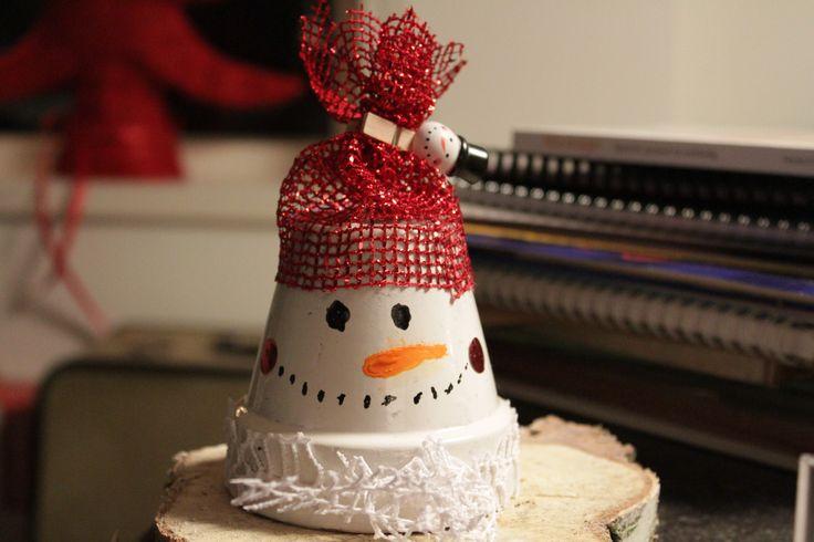 Winter. Sneeuwpop van bloempot.