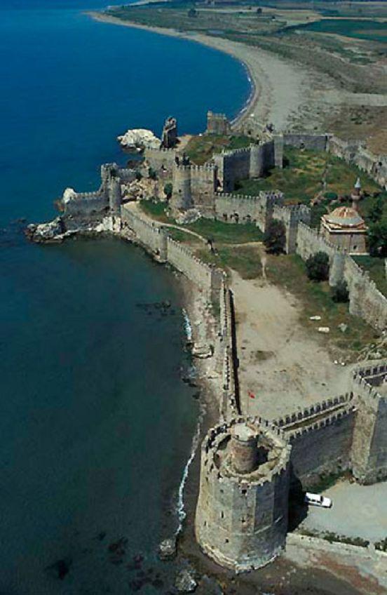 Turkey, Anamur castle, aerial view. Havadan Anamur (Mamure) kalesi, Mersin.
