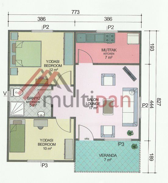 MP3 62 Square Meters Separate Lounge / Kitchen 2 Bedrooms 1 Bathroom