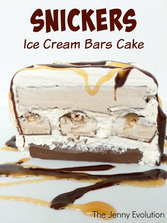 Snickers Cake! Snickers Ice Cream Bars Cake Recipe | The Jenny Evolution