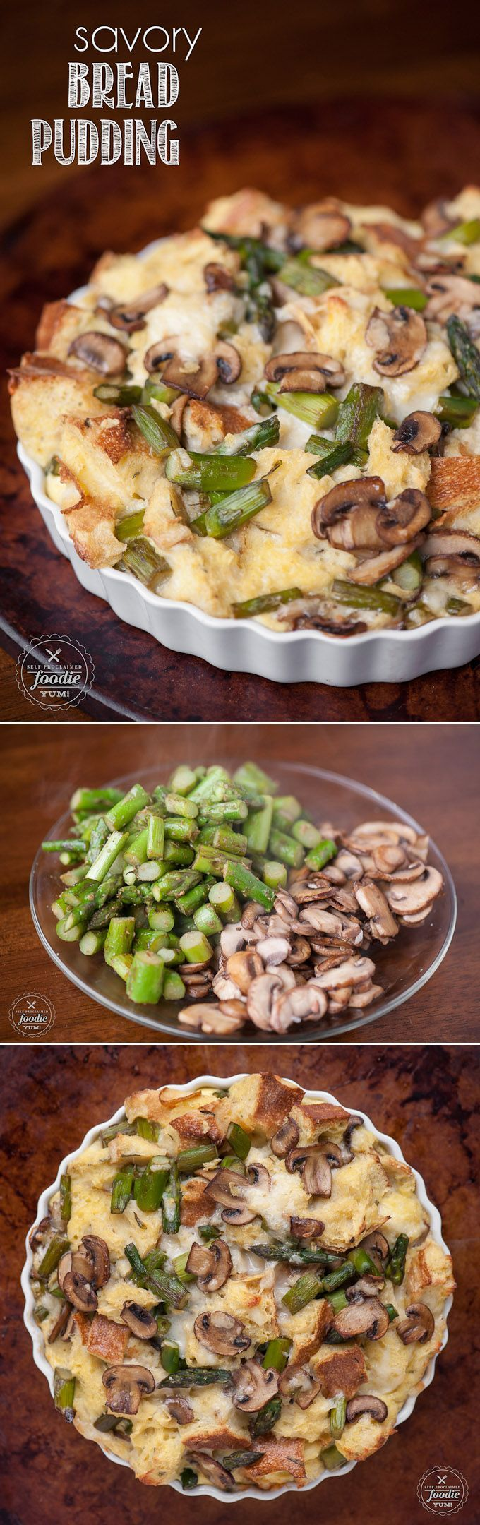 This Savory Bread Pudding with mushrooms, asparagus, and your favorite cheese is a delicious make ahead breakfast perfect for entertaining! #savory #breadpudding #breakfast