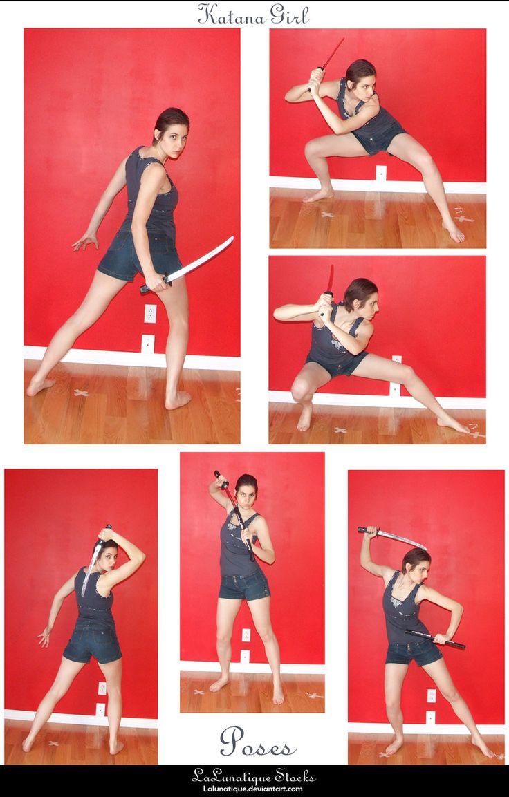 Artist Reference | Pose | STOCK - Katana Girl by LaLunatique.deviantart.com on @deviantART