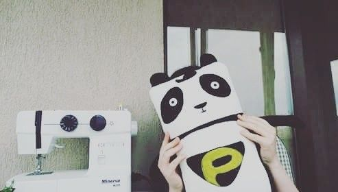Handmade stuffed panda toy