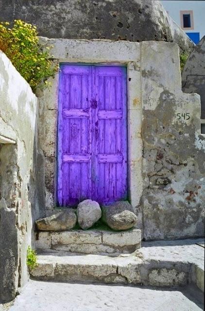 Purple old door.