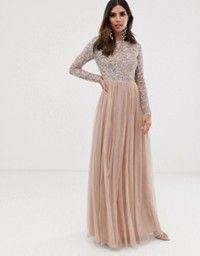 maya petite bridesmaid long sleeve maxi tulle dress with tonal