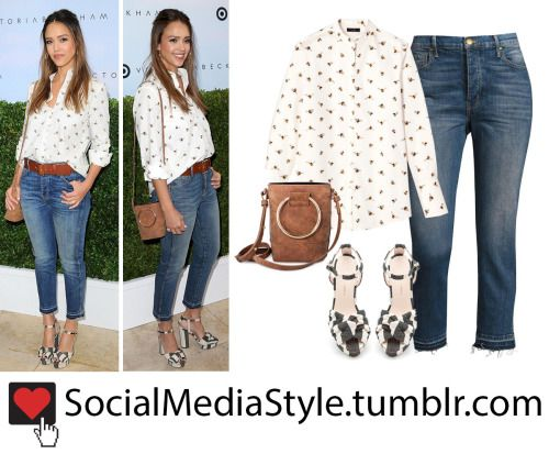 Buy Jessica Alba's Bee Print Shirt, Ring Detail Bag, Cropped Jeans, and Striped Sandals, here!