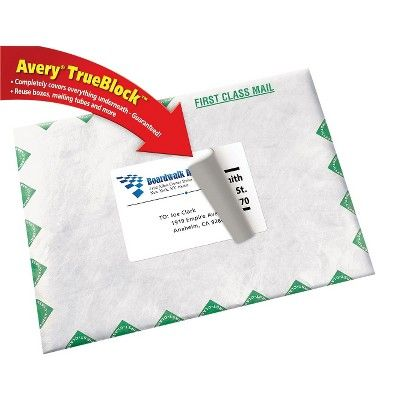 Avery 08168, Shipping Labels with Ultrahold Ad & TrueBlock, Inkjet, 3 1/2 x 5, White, 100pk