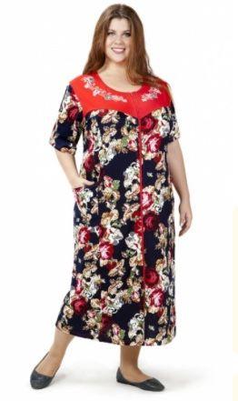 Яркий летний женский хлопчатобумажный халат с короткими рукавами для дам большого размера | pravtorg.ru