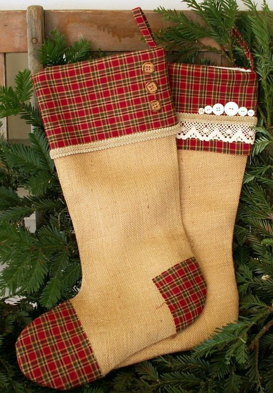 diy Rustic Burlap 2015 Christmas Stockings With Red Plaid Cuff, lace and  button - hanger decoration