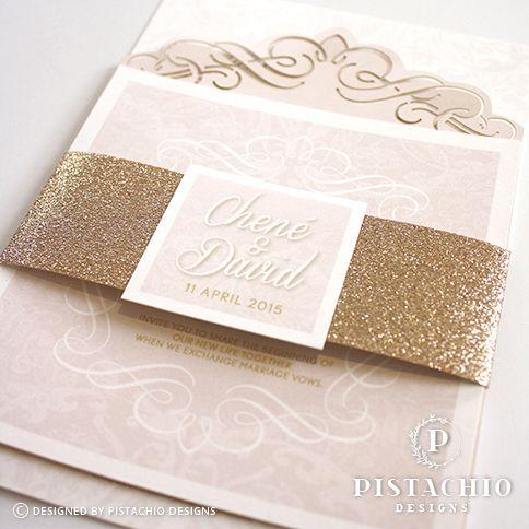 Glamorous layers wedding invitations by www.pistachiodesigns.co.za