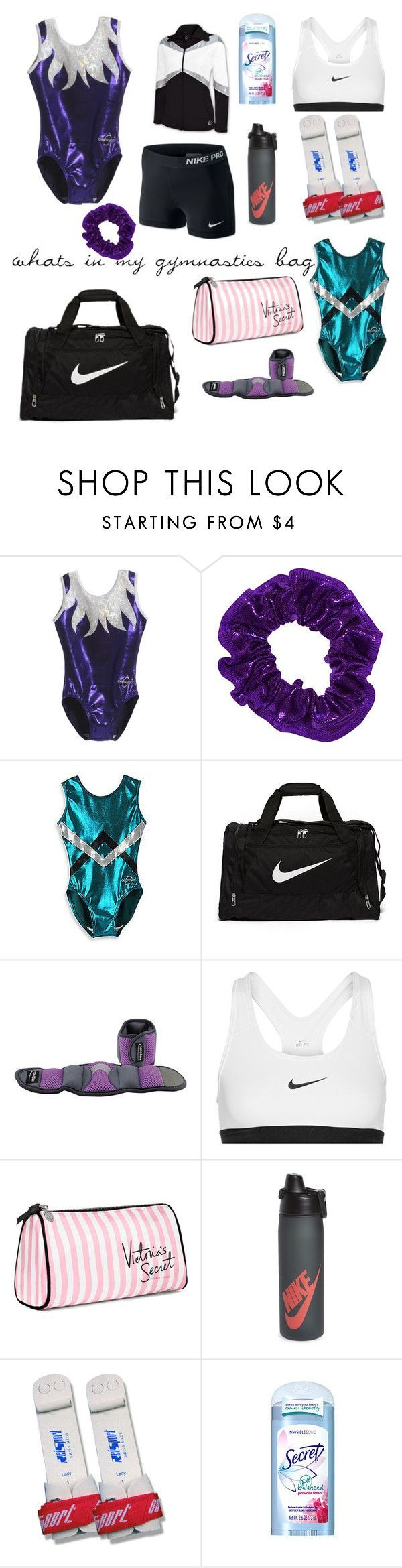 """whats in my gymnastics bag"" by brooklynwhtie on Polyvore featuring NIKE and Victoria's Secret"