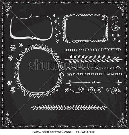 Chalkboard Style Hand Drawn Doodle Frames and Design Elements by Elena Kalistratova, via ShutterStock