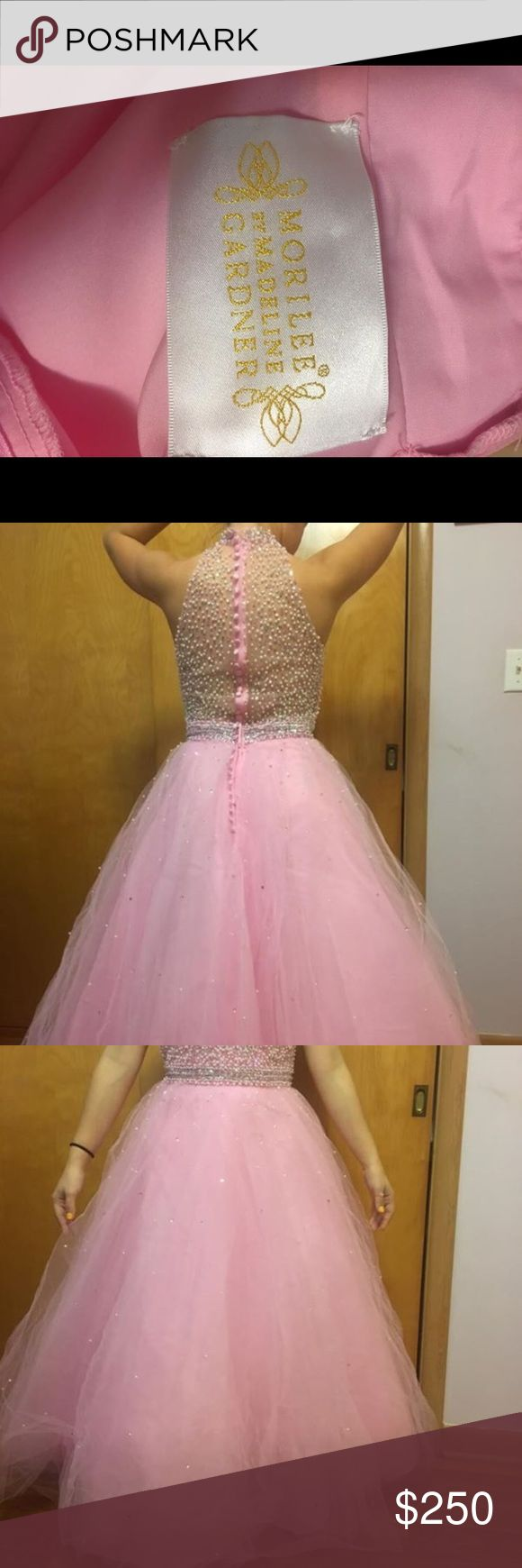 Mori Lee Prom Dress bubble gum pink. altered for a size 0 with 34C chest 5'0. worn once for junior prom Mori Lee Dresses Prom
