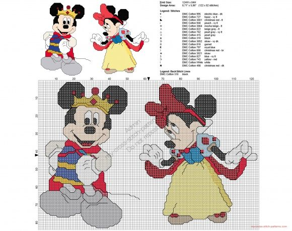 Disney Mickey and Minnie Mouse as Snow White cross stitch pattern
