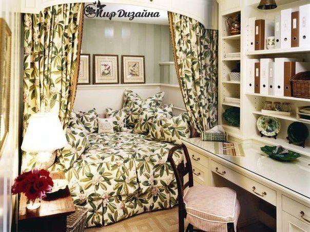 уютная спальня с рабочим местом