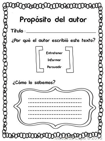 Recursos para maestros de español: Propósito del autor (organizador)