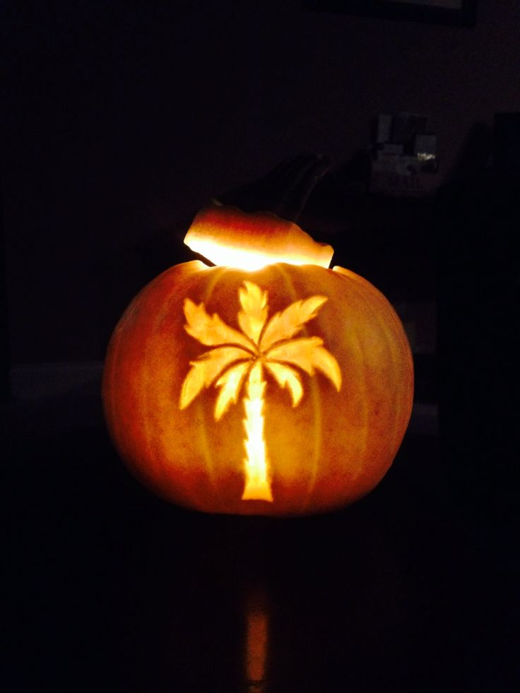 Palm tree carved white pumpkin