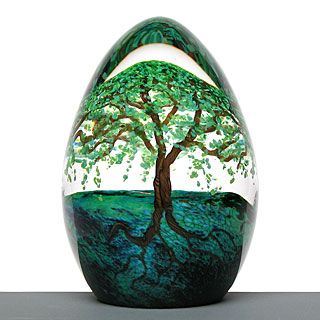 Summer Tree Egg paperweight ~ Cathy Richardson