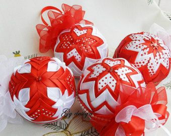 Christmas ornament silver ornament quilted ornament ball by Gydesi
