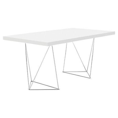 Bring bold angular design to your study with this minimalist desk, featuring trestle legs. Ideal for working from home on your laptop or used as a stylish dr...