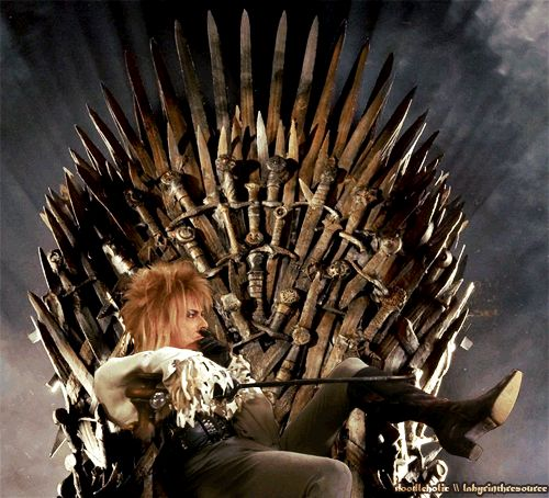 Jareth the Goblin King on the Iron Throne Is Everything We Ever Wanted. ALL HAIL THE GOBLIN KING