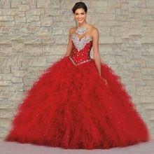 2017 rode baljurk lange quinceanera jurken voor meisjes 15 jaar party vestidos de 15 anos sweet 16 baljurken(China (Mainland))