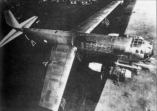 Junkers Ju 287.  Work on the Ju 287 programme, along with all other pending German bomber projects (including Junkers' other ongoing heavy bomber design, the piston-engined Ju 488) came to a halt in July 1944, but Junkers was allowed to go forward with the flight testing regime on the V1 prototype. The wing section for the V2 had been completed by that time.