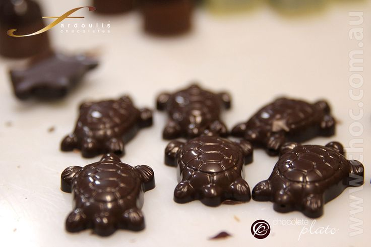 The finished product , chocolate turtles  www.choc.com.au made with dark couverture chocolate
