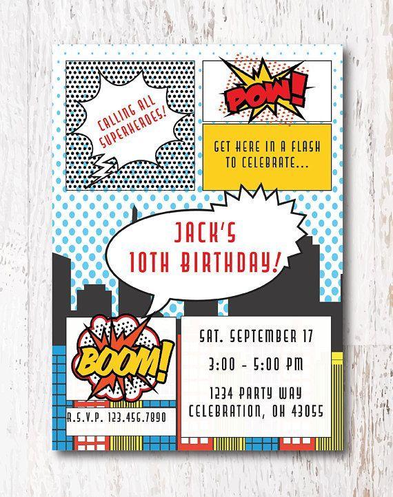 Superhero Invitation Etsy Etsyshop Etsyfinds Superheroparty Superheroinvitations ComicBooks Birthday Birthdayparty
