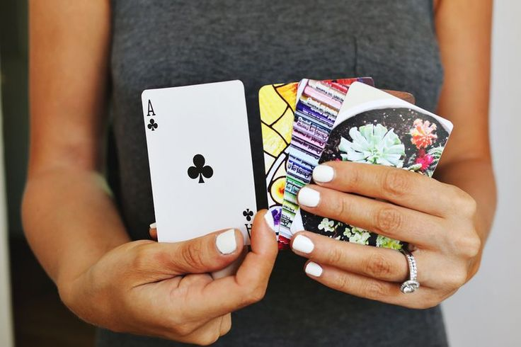 DIY custom card deck. Use photos, or design and print your own Spoonflower decals.