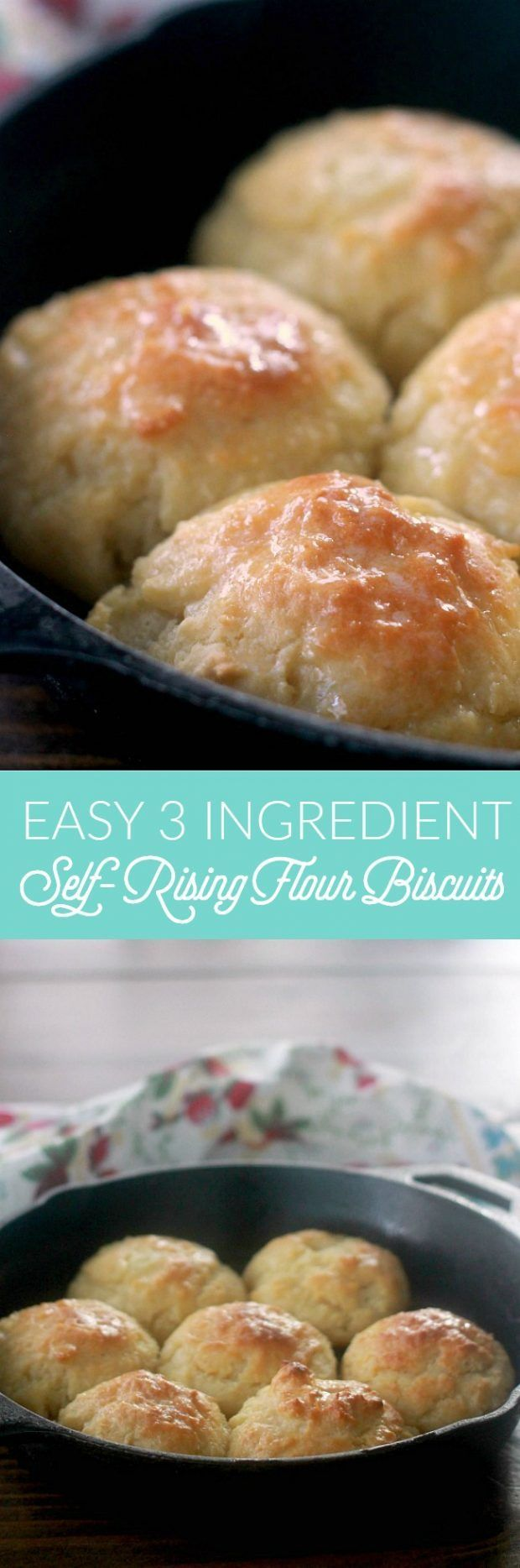 Self-Rising Flour Biscuits are the easiest biscuits you will ever make! The dough for these drop biscuits comes together in less than 10 minutes and uses only 3 ingredients: self-rising flour, salted butter, and milk or buttermilk!