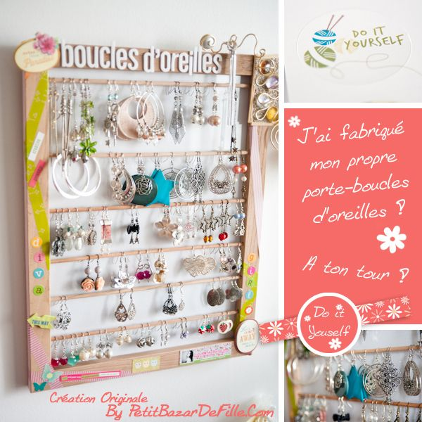 Earring Holder by Petit Bazar De Fille - http://petitbazardefille.com/do-it-yourself-un-porte-boucles-doreilles