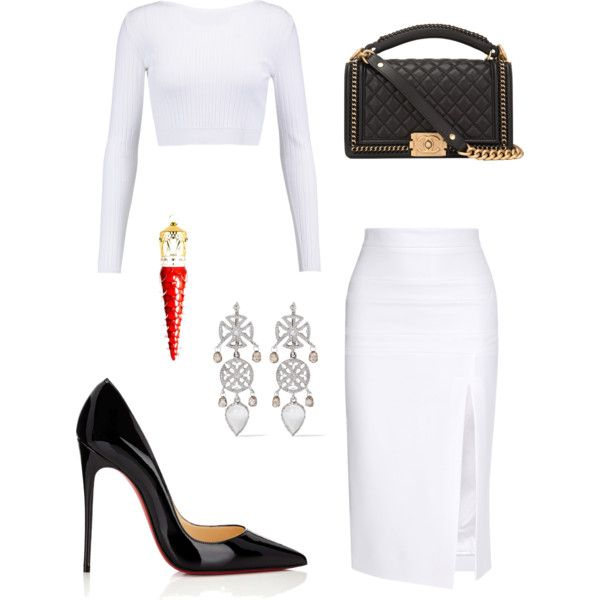 Untitled #471 by cxndai on Polyvore featuring moda, Cushnie Et Ochs, Christian Louboutin, Chanel and Loree Rodkin