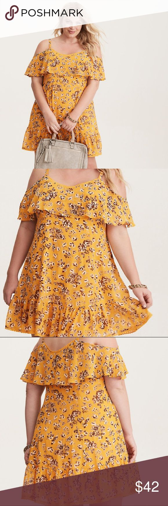 """Torrid Yellow Floral Print Trapeze Dress """"Yup, it's the best dress ever. A flounce overlay on the bodice lends delicate, floaty quality, with lace trim and a ruffled hem offering flirty appeal. Chiffon fabric. V-neck flounce neck. Cold shoulder sleeves. Mini length. No closure. Polyester."""" New with tags, size 3X. torrid Dresses Mini"""