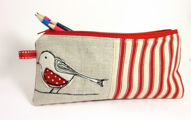 Pencil Case!  Pencil Case Cream  Felt Bird and Red Ticking. £13.00, via Etsy.
