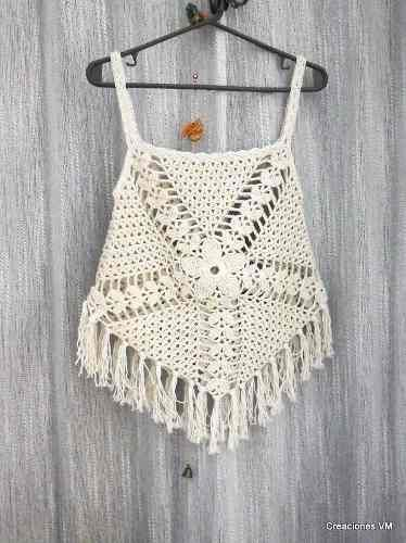 Top A Crochet Con Flecos. Playa, Verano. - $ 350,00