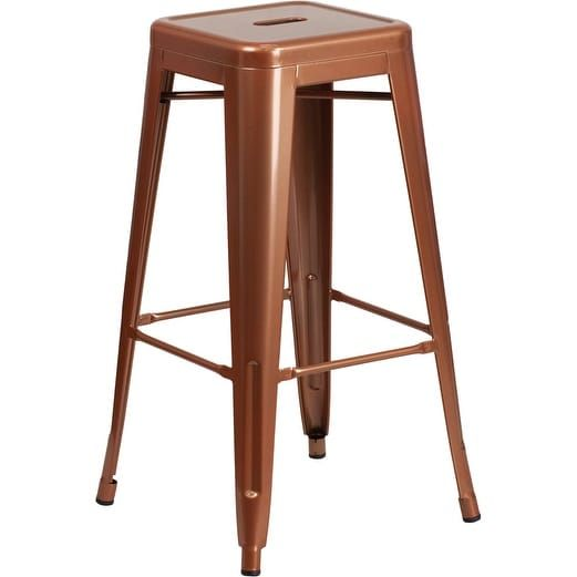 iHome Brimmes 30'' High Backless Copper Indoor/Outdoor/Patio/Bar Barstool, Brown (Metal)
