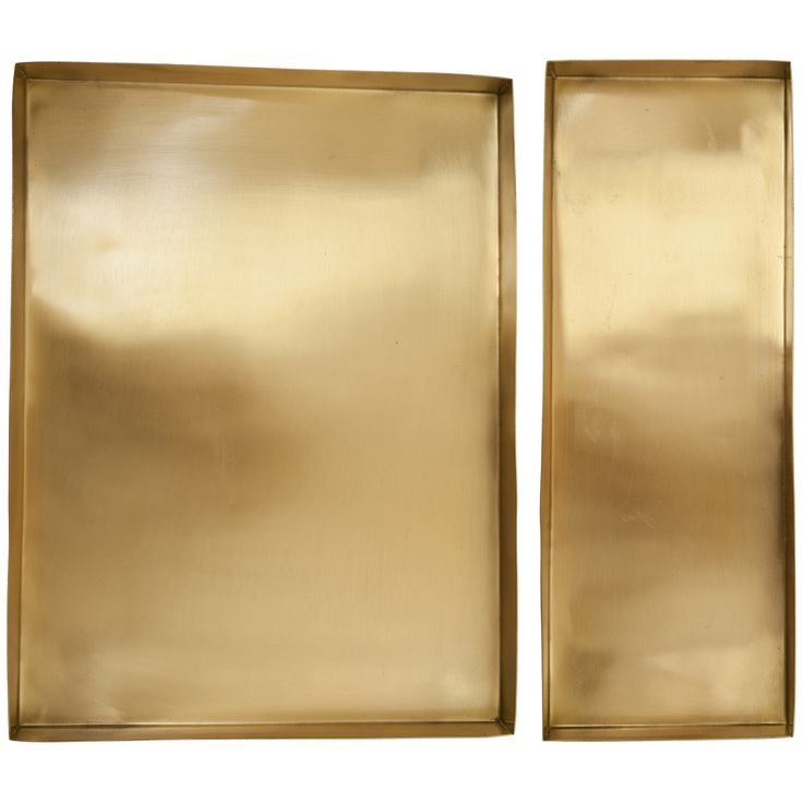 Polished Brass Trays - Set of 2